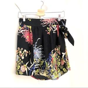 Zara Black Floral Skirt. Small.